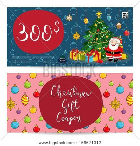 Christmas gift voucher template. Gift coupon with Xmas attributes and prepaid sum. Santa, wrapped gifts, decorated christmas tree, toys cartoon vector. Merry Christmas and Happy New Year greeting card