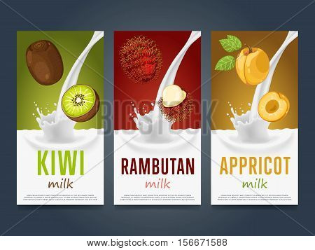 Milkshake concept with milk splash and fruit vector illustration. Milk dessert, yogurt, fruit mix, cocktail drink, fruit smoothie with kiwi, rambutan, apricot packaging design template. Dairy product.