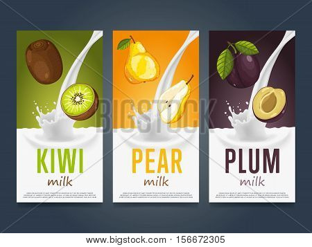 Milkshake concept with milk splash and fruit vector illustration. Milk dessert, yogurt, fruit mix, cocktail drink, fruit smoothie with kiwi, pear and plum packaging design template. Dairy product.
