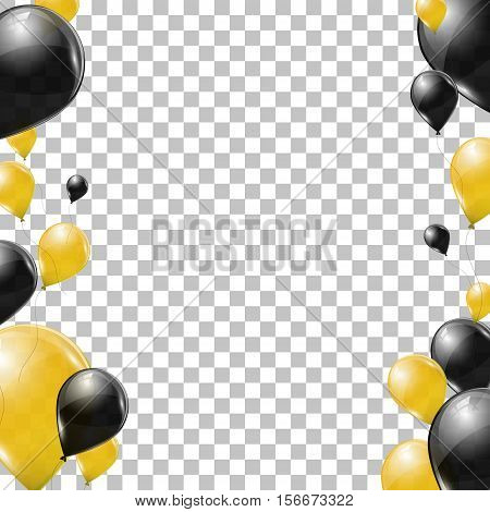 Black and yellow helium balloons on transparent background. Flying latex ballons. Vector illustration.