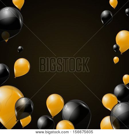 Black and yellow transparent helium balloons on dark background. Flying latex ballons. Vector illustration. Holiday background for card, poster, flyer, voucher.