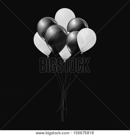 Black and white helium balloons on black background. Flying latex ballons. Vector illustration.