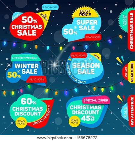 Christmas discount sale banner. best offer set of Christmas sale badges for web. Winter sale. Christmas sale. New year sale. Vector illustration