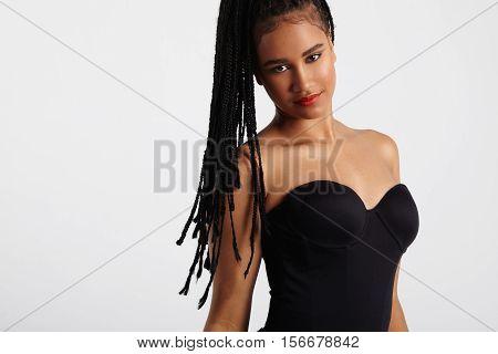Dancing Black Woman. Braids Of Hair Flyes In Air