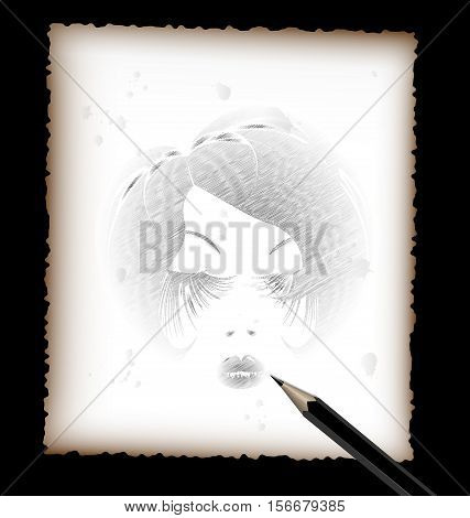 light background, black and red pencils, sheet of white paper and the image of head abstract lady