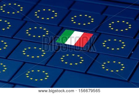 italian referendum yes (SI) or no (NO) and a pc keyboard