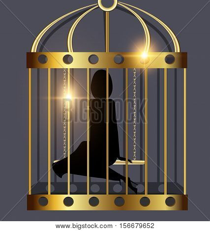 black background, golden cage and the shadow of abstract dark lady inside