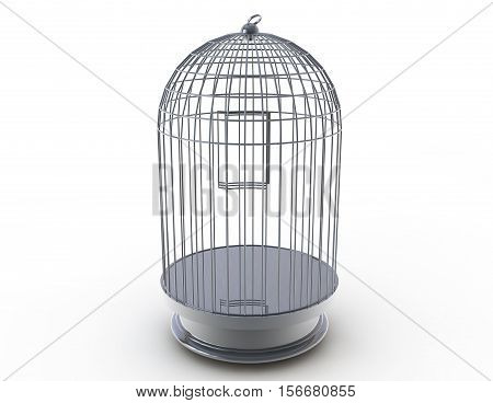 Silver bird cage. 3d illustration on white background