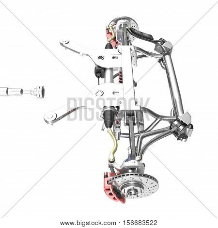 Car disc brake with red caliper, and front suspension on white background. 3D illustration