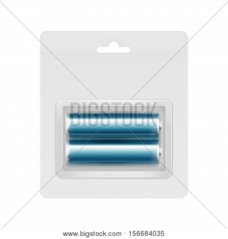 Vector Cyan Blue Glossy Alkaline AA Batteries in Transparent Blister Packed for branding Close up Isolated on White Background