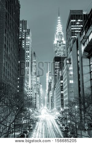 New York City at night - 42nd Street with traffic, long exposure, black and white toned, NYC, USA