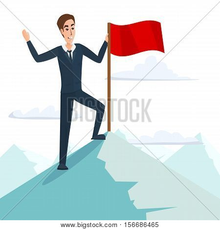 Businessman with flag on a Mountain peak, success and mission, target victory motivation, winner on top. Business cartoon concept. Vector illustration isolated on white background in flat style.