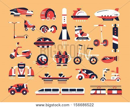 Means of transport - set of modern vector flat design icons and pictograms. Road, air, futuristic, etro, rocket, train, vehicle, electric car, skateboard, hoverboard scooter bicycle airship