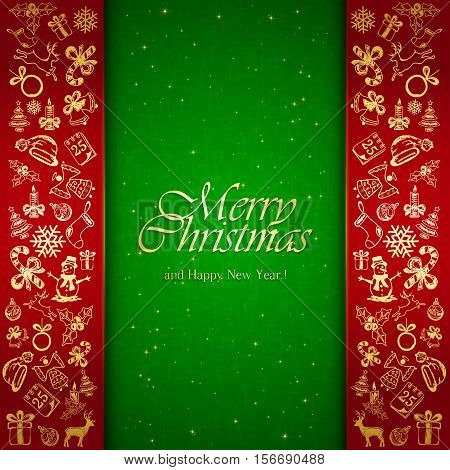 Golden Christmas decorative elements on red and green background, holiday decorations with inscriptions Merry Christmas and Happy New Year, illustration.