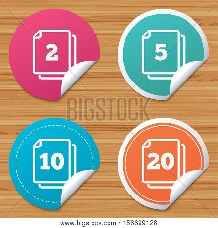 Round stickers or website banners. In pack sheets icons. Quantity per package symbols. 2, 5, 10 and 20 paper units in the pack signs. Circle badges with bended corner. Vector