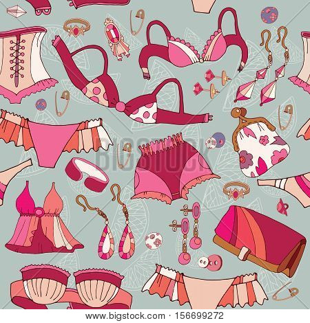 Woman underwear seamless pattern. Fashion accessories cosmetics jewelry woman shopping background vector