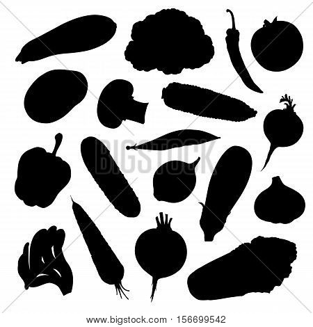 Silhouettes of vegetables isolated on white background. Set stencil of different vegetables. Vector illustration