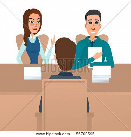 Man having a job Interview with HR specialists and a boss. Vector illustration isolated on white background in flat style.