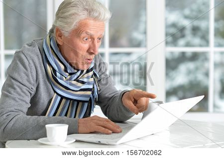 Portrait of exited senior man with laptop