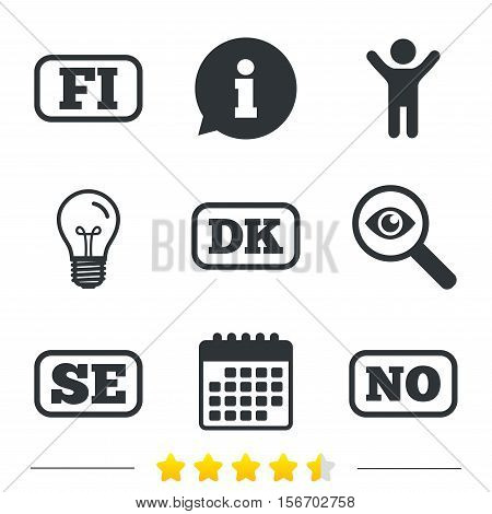 Language icons. FI, DK, SE and NO translation symbols. Finland, Denmark, Sweden and Norwegian languages. Information, light bulb and calendar icons. Investigate magnifier. Vector