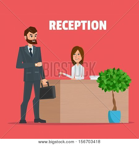 Customer receives a businessman the key reception a girl. Reception service hotel desk business office concept in flat style. Vector creative color illustrations flat design in flat modern style.