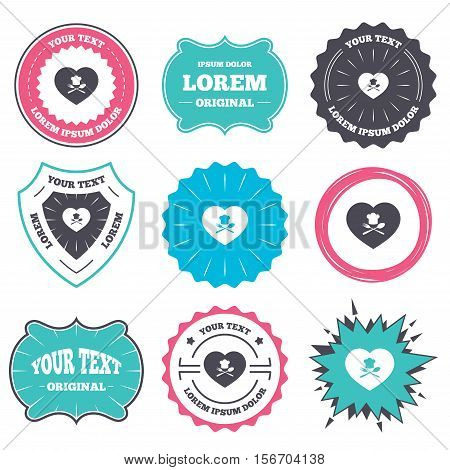 Label and badge templates. Chef hat sign icon. Love Cooking symbol. Cooks hat with fork and spoon. Retro style banners, emblems. Vector