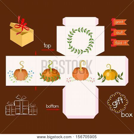 Printable gift box with pumpkins. Template for cubic gift box with lid. Thanksgiving theme favor box. Vector illustration.