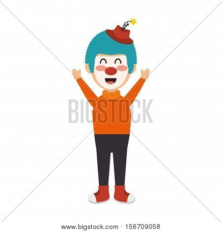circus clown character isolated icon vector illustration design