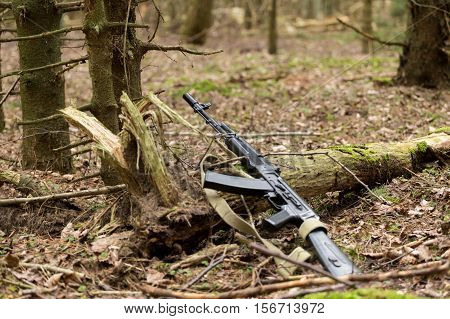 Automatic Kalashnikov rifle in the forest lies in the forest the dry leaves and pine forest