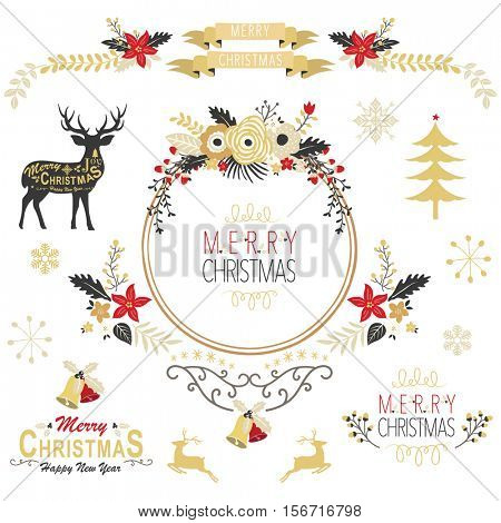 Vintage Gold Christmas Elements