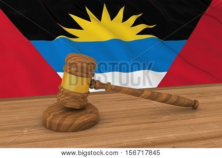 Antiguan And Barbudan Law Concept - Flag Of Antigua And Barbuda Behind Judge's Gavel 3D Illustration