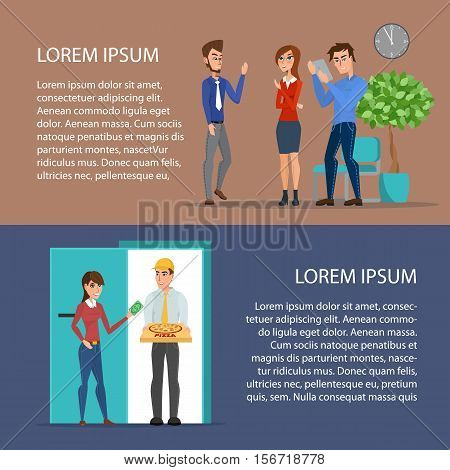 Pizza delivery boy handing pizza. Office life. Cartoon poster vector illustration. Banners set for your web design in business style. Template for your text.