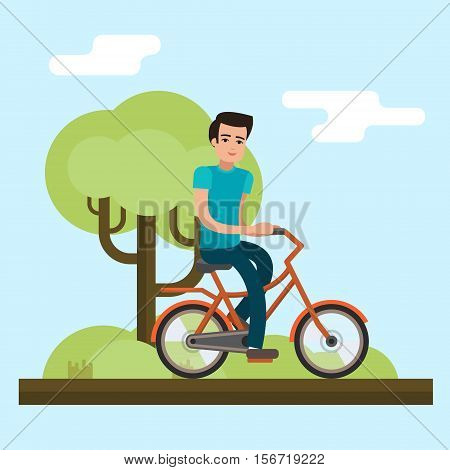 Man on bike. Bicycle on city background. Flat style vector illustration.