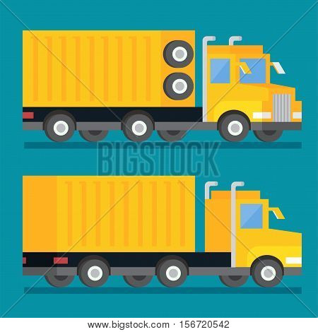 Heavy wheel shipping transport truck. Transportation delivery icon. Flat design vector illustration.