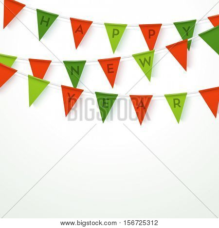 Colorful realistic vector flag garland with letters saying HAPPY NEW YEAR. 3 different colors, easy to edit. Material design paper style. Christmas party design template.