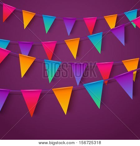 Neon realistic vector flag garland with shadow on a dark purple background. 4 different colors, easy to edit. Material design paper style. Party invitation design template.