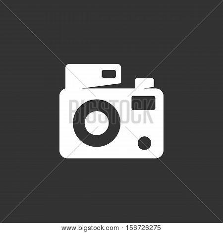 Camera icon. Logo isolated on black background. Vector illustration