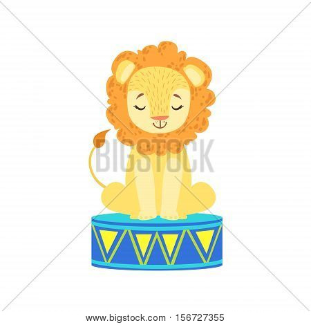 Circus Trained Lion Animal Artist Waiting For The Performance In Circus Show. Colorful Cartoon Illustration From The Collection Of Entertainment Performers And Circus Arena Vector Drawings