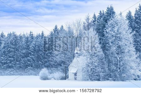 Idyllic serene winter landscape with snowy frosty forest and snowbound small woody chapel on snowfield. Blue and white filtered and toned panoramic stock photo.