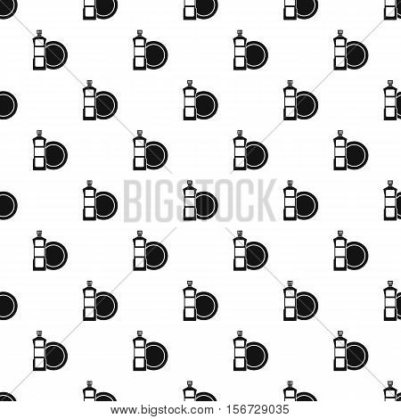 Bottle of dish soap and dish pattern. Simple illustration of bottle of dish soap and dish vector pattern for web