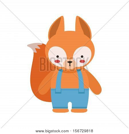 Fox In Blue Pants With Suspenders Cute Toy Baby Animal Dressed As Little Boy. Part Of Adorable Standing Humanized Fauna Characters Collection Flat Vector Illustration.