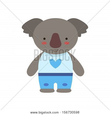 Koala In White Top With Heart Print And Blue Pants Cute Toy Baby Animal Dressed As Little Boy. Part Of Adorable Standing Humanized Fauna Characters Collection Flat Vector Illustration.