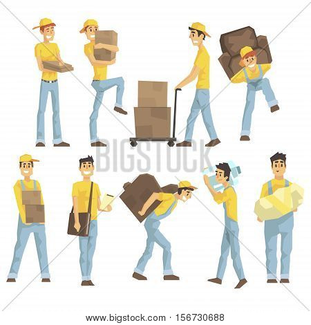 Delivery And Moving Company Employees Carrying Heavy Objects, Delivering Shipments And Helping With Removal Set Of Illustrations. Manual Laborer Loading And Bringing Items Colorful Cartoon Characters In Uniform.