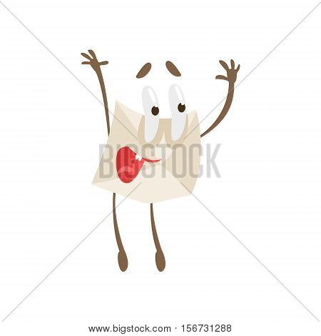 Excited Humanized Letter Paper Envelop Cartoon Character Emoji Illustration. Part Of Mail Cover Funny Character With Arms And Legs Emotional Facial Expression Vector Collection