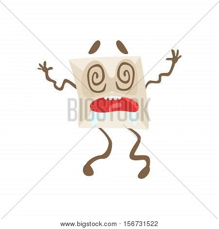 Dizzy Humanized Letter Paper Envelop Cartoon Character Emoji Illustration. Part Of Mail Cover Funny Character With Arms And Legs Emotional Facial Expression Vector Collection