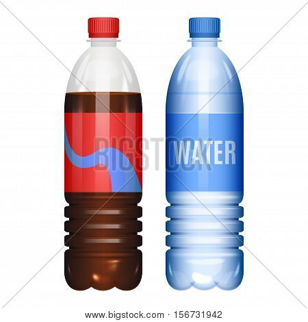 Bottles of water and cola soda. Vector illustration