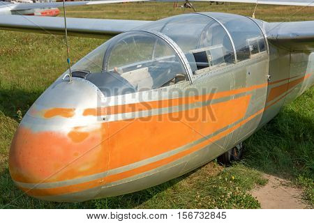 Cabin of the old glider closeup. At the airfield.