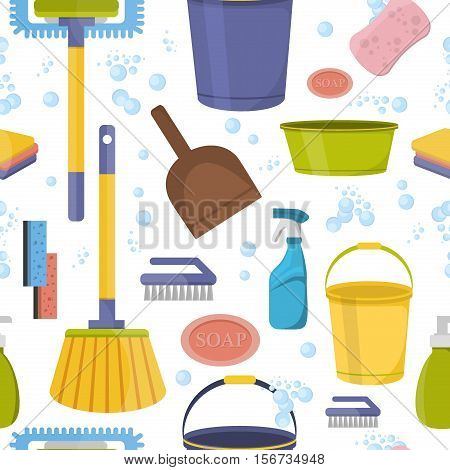 Cleaning tools washing housework dishes. Broom bottle sponge housework cleaning icons seamless pattern vector illustration. Cleaning tools backdrop textile printing and wrapping paper.