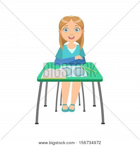 Schoolgirl Sitting Behind The Desk In School Geography Class Illustration, Part Of Scholars Studying Vector Collection.. Happy Teenage Student In Uniform Having Good Time At Studies.