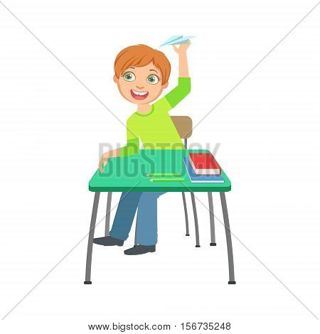 Schoolboy Sitting Behind The Desk In School Class Playing Paper Planes Illustration, Part Of Scholars Studying Vector Collection. Happy Teenage Student In Uniform Having Good Time At Studies.